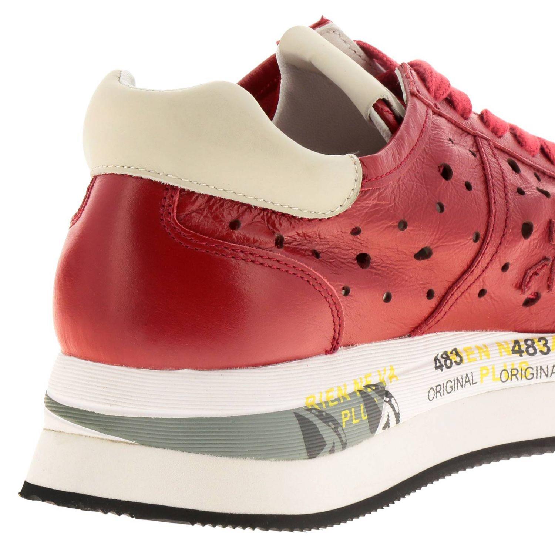 Sneakers Conny Premiata in pelle traforata con suola multi stampe rosso 4