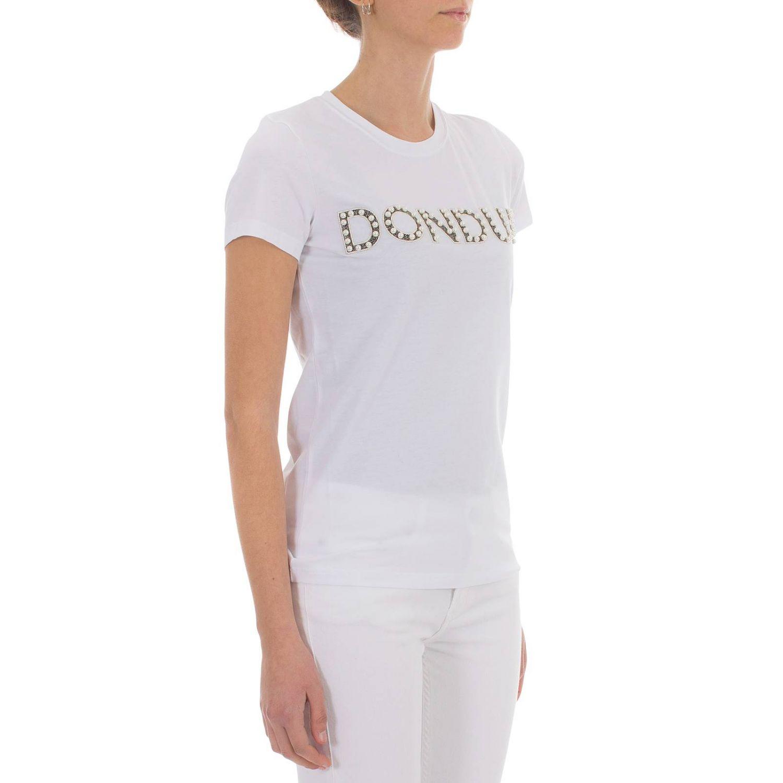 T-shirt Dondup a maniche corte con stampa logo bianco 2
