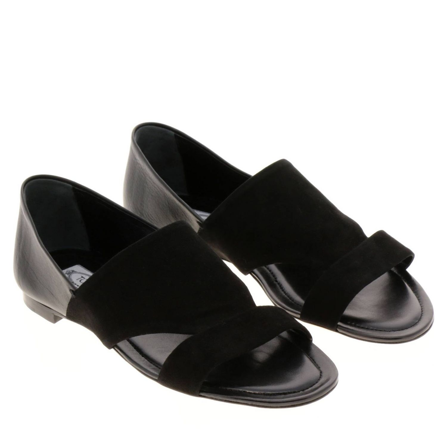 Sandales plates Tods: Chaussures femme Tod's noir 2