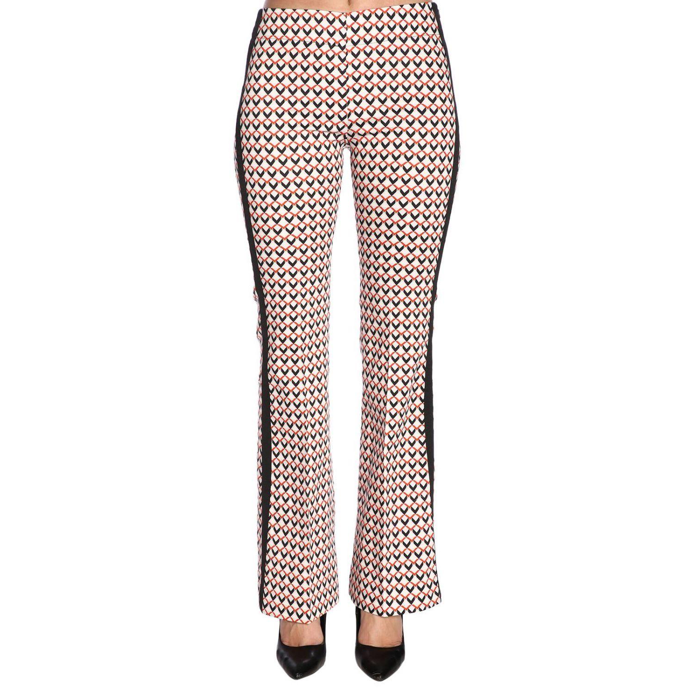 Pantalone Hanita a vita media con fantasia all over e bande laterali fantasia 1