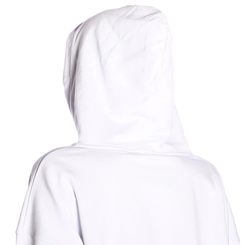 Felpa Msgm con stampe e maxi cappuccio bianco 4