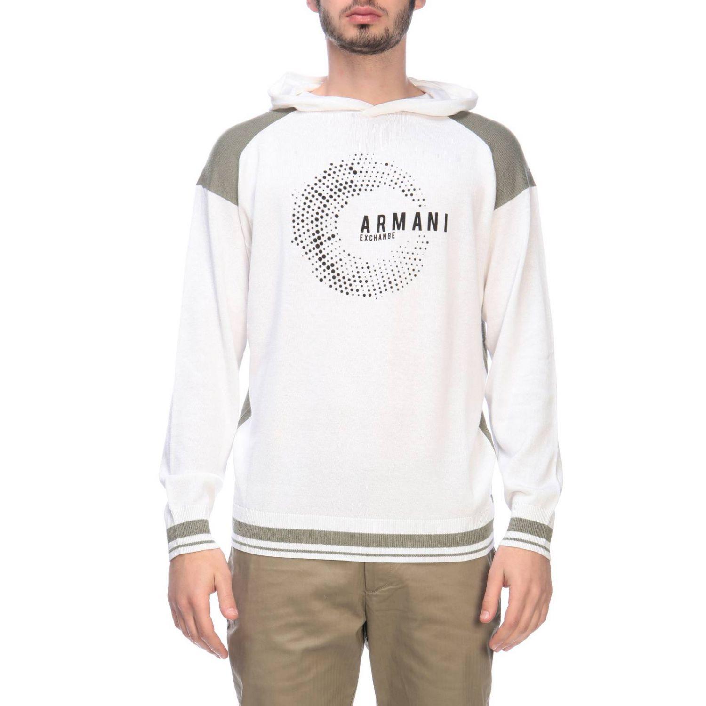 Felpa Armani Exchange con cappuccio e logo bianco 1