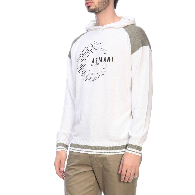 Felpa Armani Exchange con cappuccio e logo bianco 2