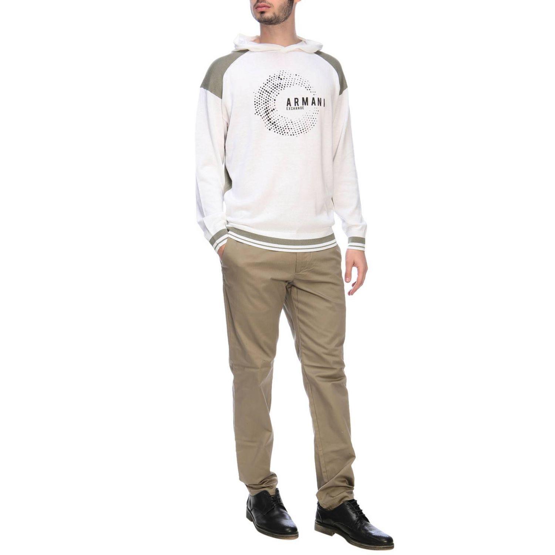 Felpa Armani Exchange con cappuccio e logo bianco 5