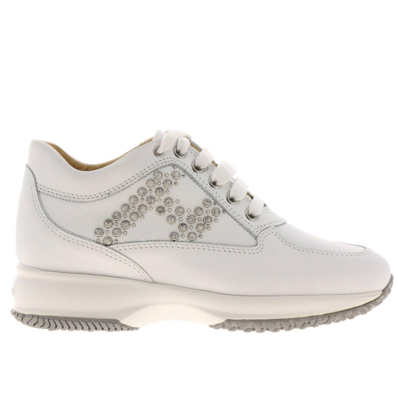 Sneakers Interactive Classic in pelle con H di strass bianco 1