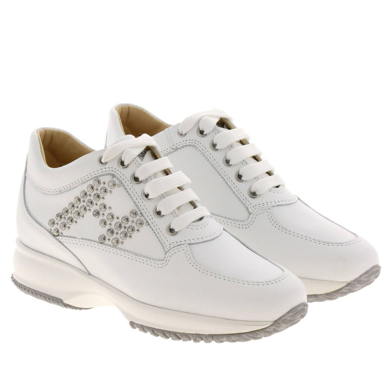 Sneakers Interactive Classic in pelle con H di strass bianco 2