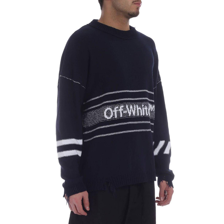 Maglia Off White a girocollo con maniche lunghe e logo blue 2