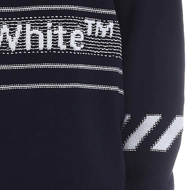 Maglia Off White a girocollo con maniche lunghe e logo blue 4