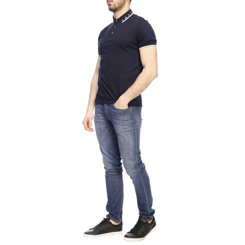 Polo Emporio Armani a maniche corte con bordi a contrasto e mini logo blue navy 4