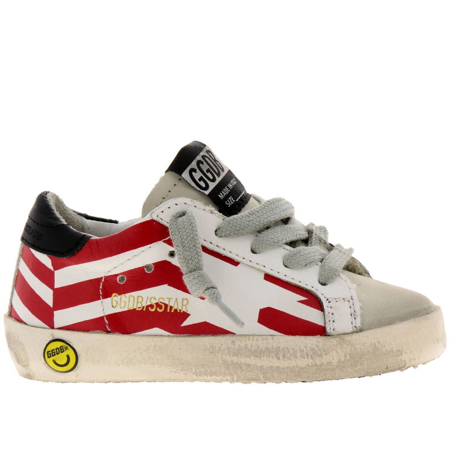 Sneakers Superstar Golden Goose in pelle a righe con stella stampata bianco 1
