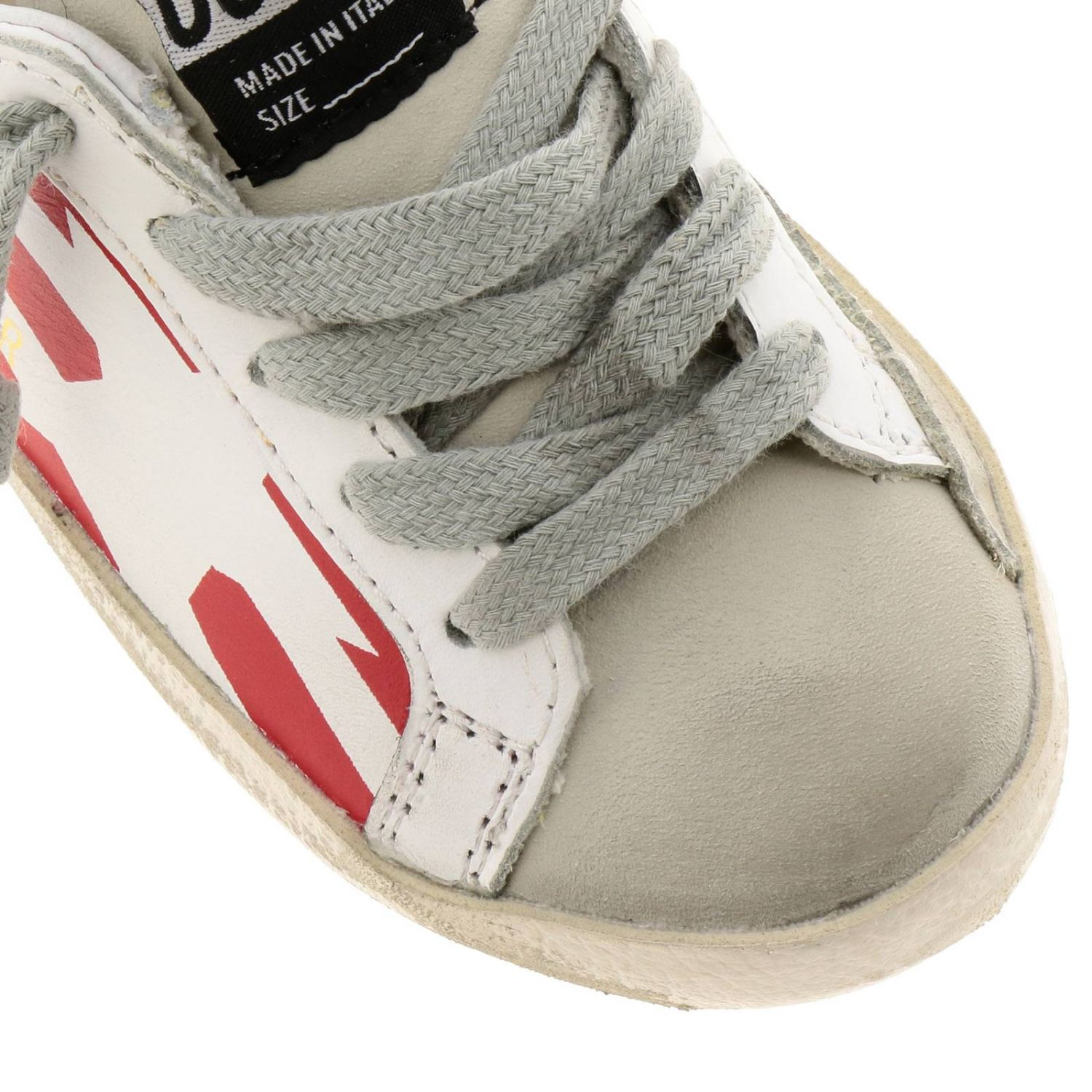 Sneakers Superstar Golden Goose in pelle a righe con stella stampata bianco 3