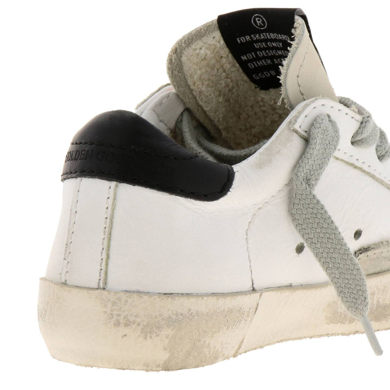 Sneakers Superstar Golden Goose in pelle a righe con stella stampata bianco 4