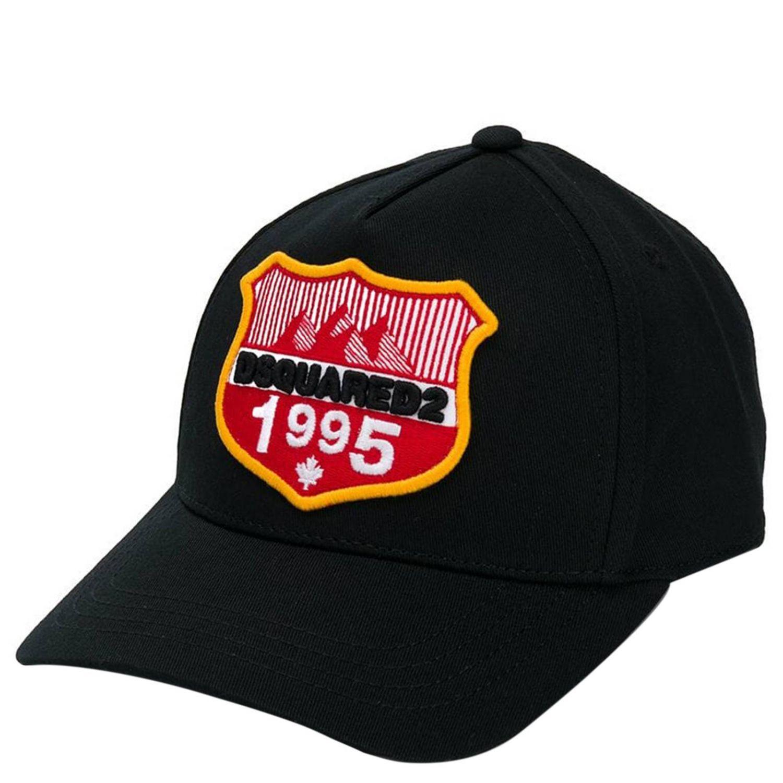 Cappello da baseball Dsquared2 Junior con maxi patch logo nero 1