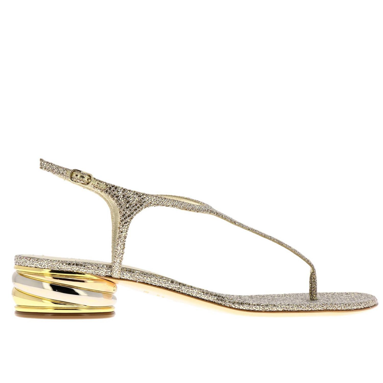 Босоножки на каблуке Женское Casadei платиновый 1