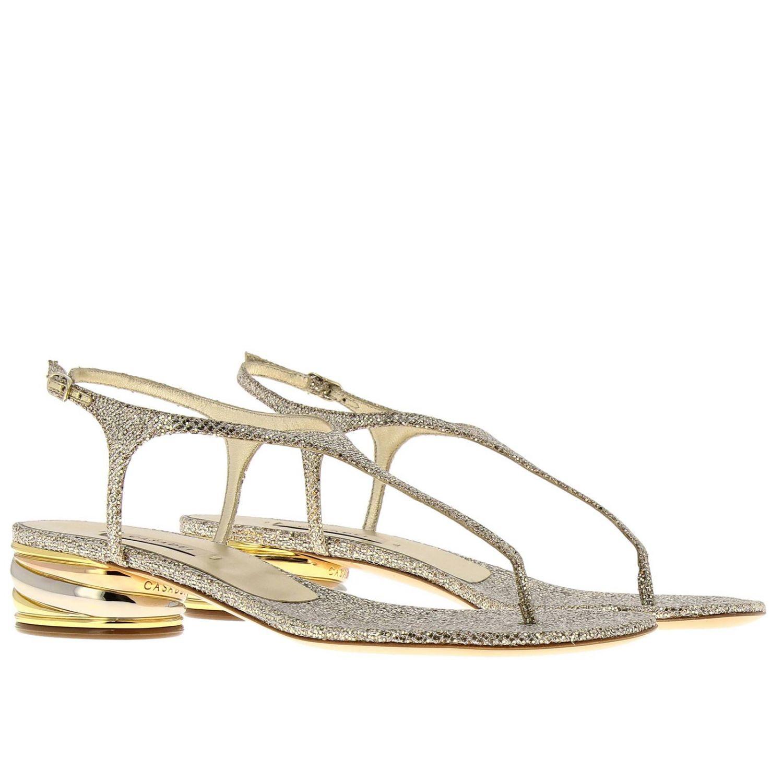 Босоножки на каблуке Женское Casadei платиновый 2
