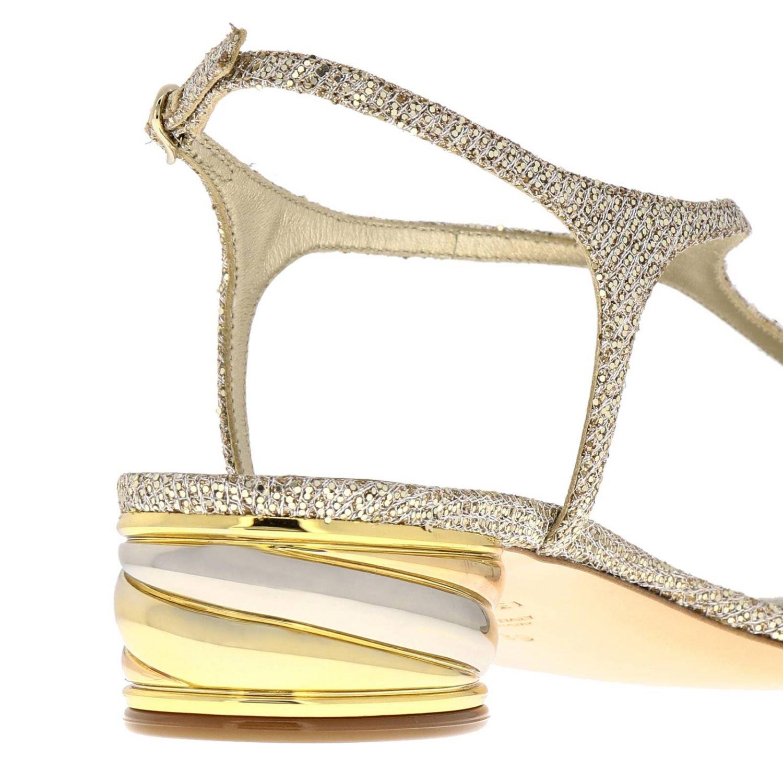 Босоножки на каблуке Женское Casadei платиновый 4