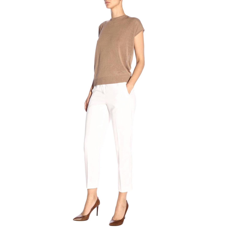 Pantalone donna Peserico bianco 4