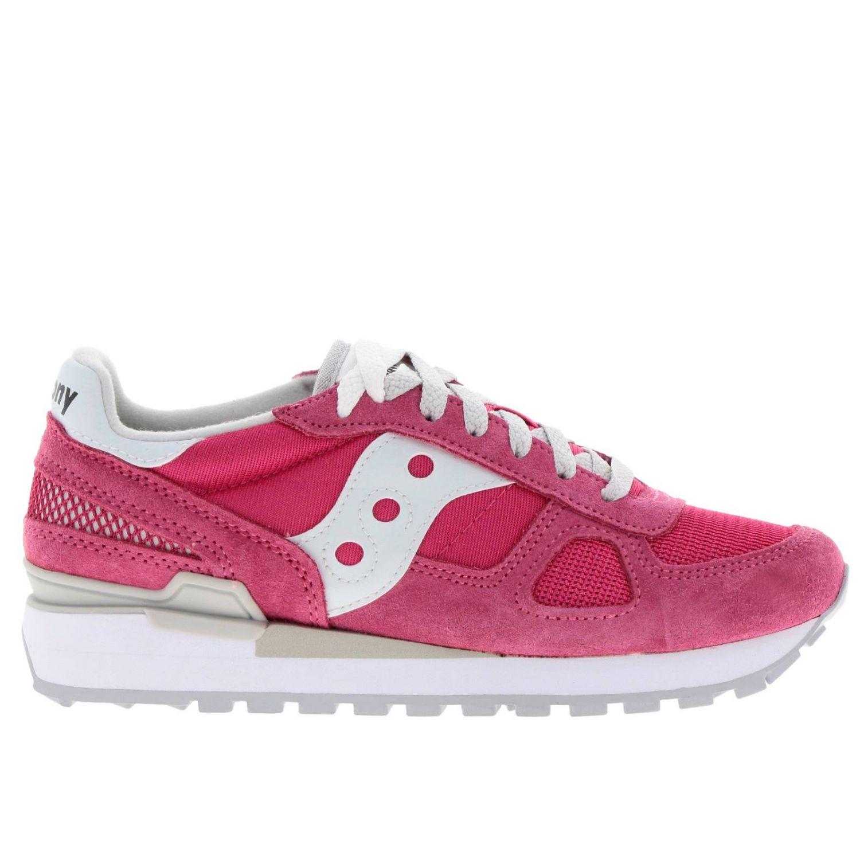 Sneakers Original Saucony in pelle scamosciata pelle liscia e micro rete rosa 1