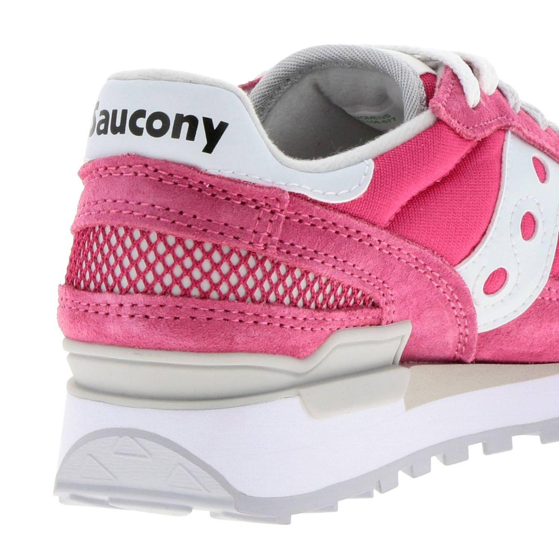 Sneakers Original Saucony in pelle scamosciata pelle liscia e micro rete rosa 4
