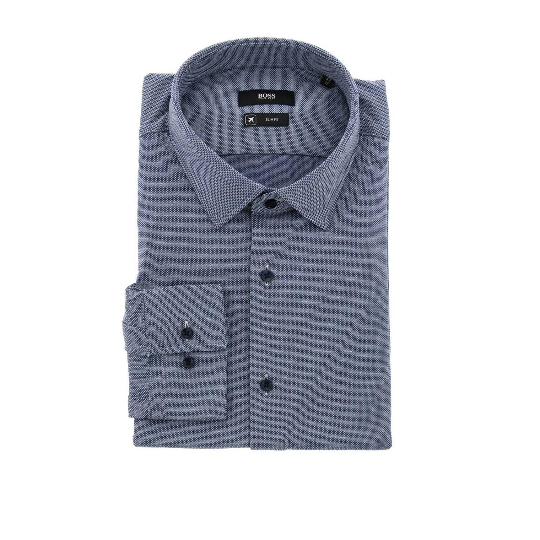 Camisa hombre Hugo Boss azul oscuro 1