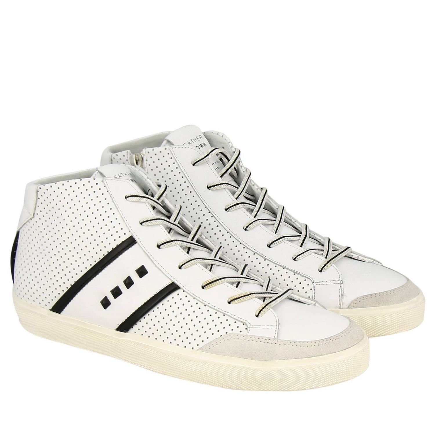 Shoes men Leather Crown white 2