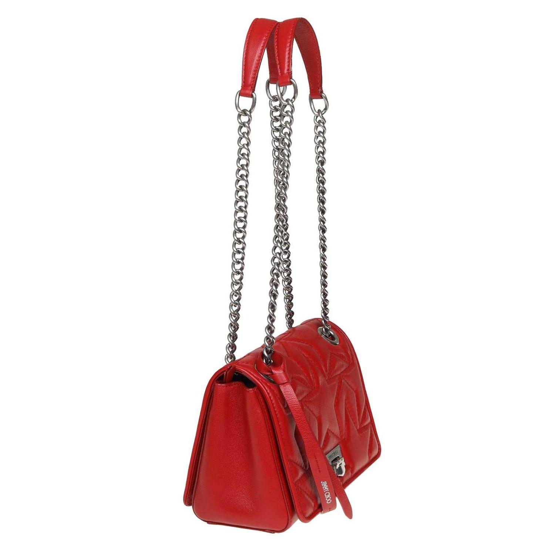 Helia kleine Jimmy Choo Tasche aus gestepptem Nappaleder rot 2