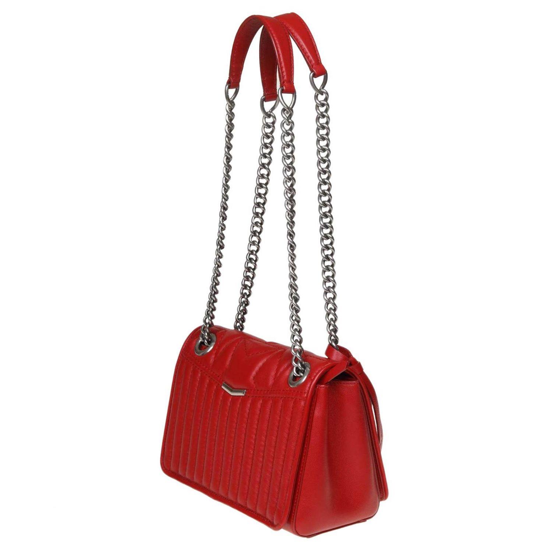 Helia kleine Jimmy Choo Tasche aus gestepptem Nappaleder rot 3