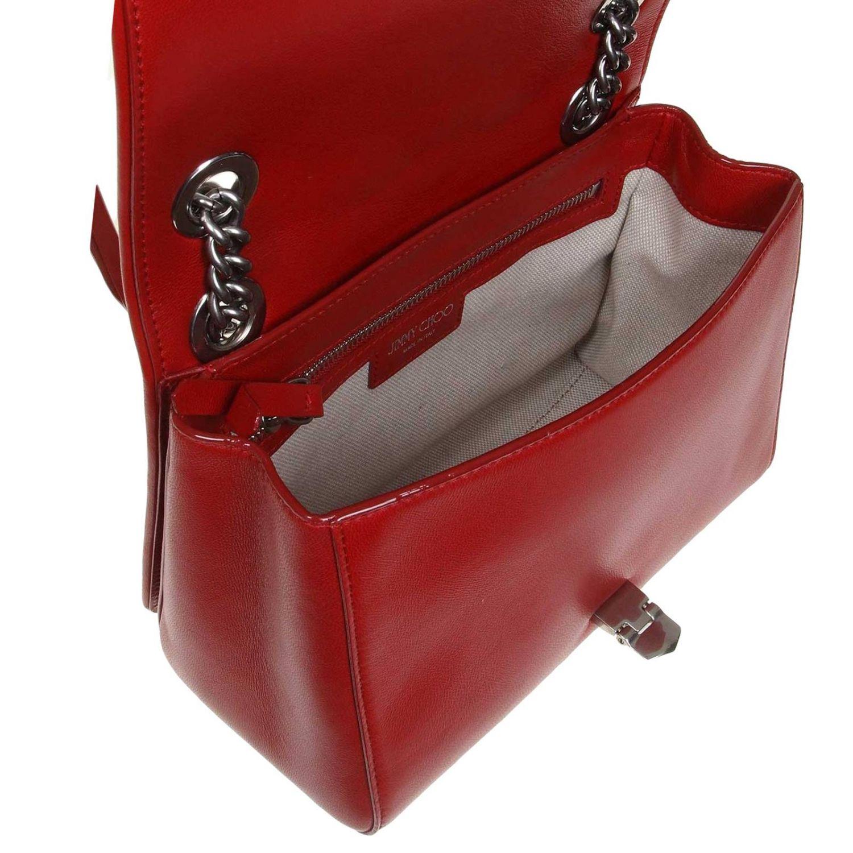 Helia kleine Jimmy Choo Tasche aus gestepptem Nappaleder rot 4