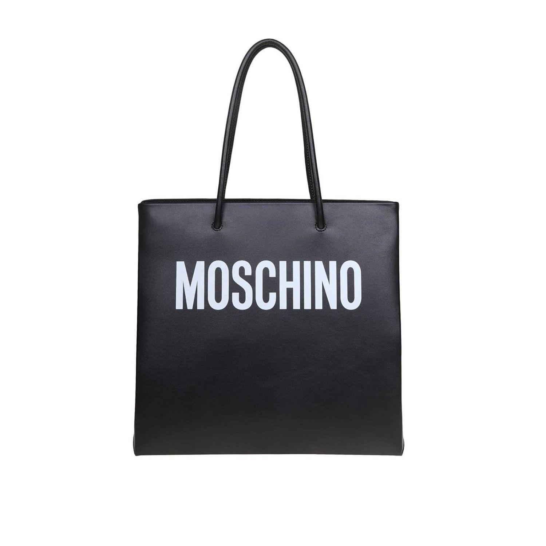 Sac Cabas en cuir Moschino Couture avec maxi logo imprimé noir 1