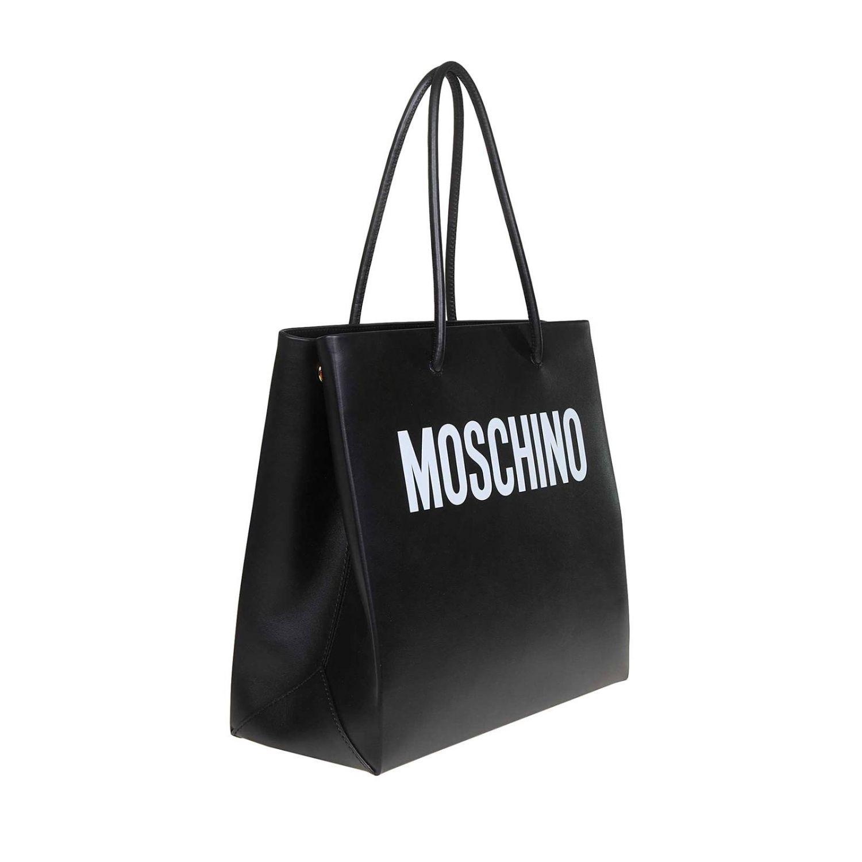 Sac Cabas en cuir Moschino Couture avec maxi logo imprimé noir 2