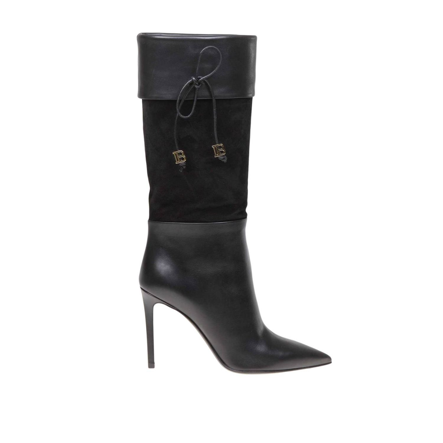 Mina Balmain smooth leather and suede boots with bow black 1