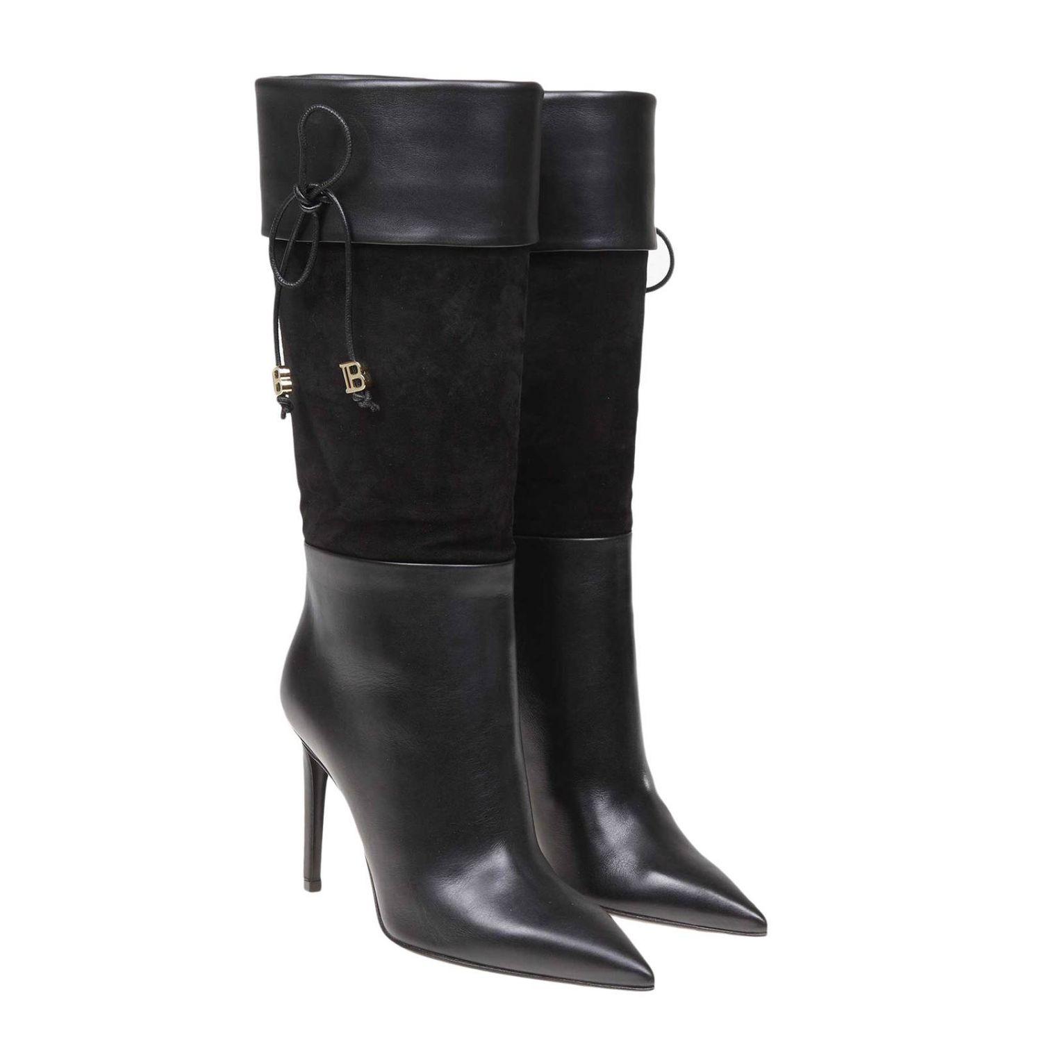 Mina Balmain smooth leather and suede boots with bow black 2