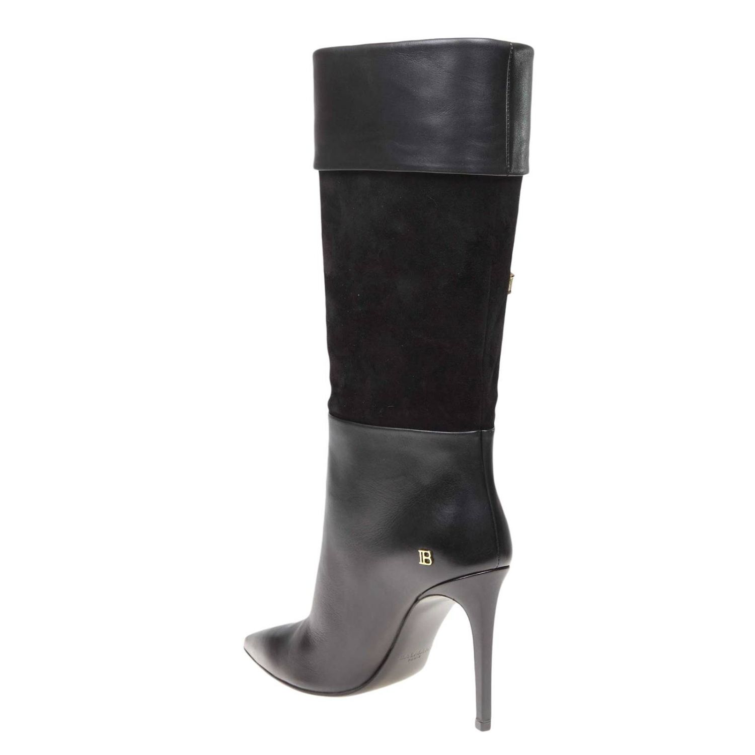 Mina Balmain smooth leather and suede boots with bow black 4