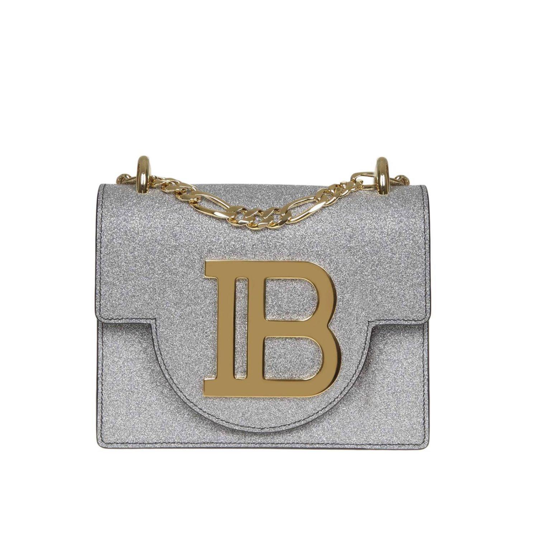 Mini sac à main Balmain: Sac bandoulière Balmain en cuir pailleté avec monogramme métalliques argent 1
