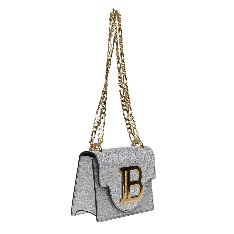 Mini sac à main Balmain: Sac bandoulière Balmain en cuir pailleté avec monogramme métalliques argent 2