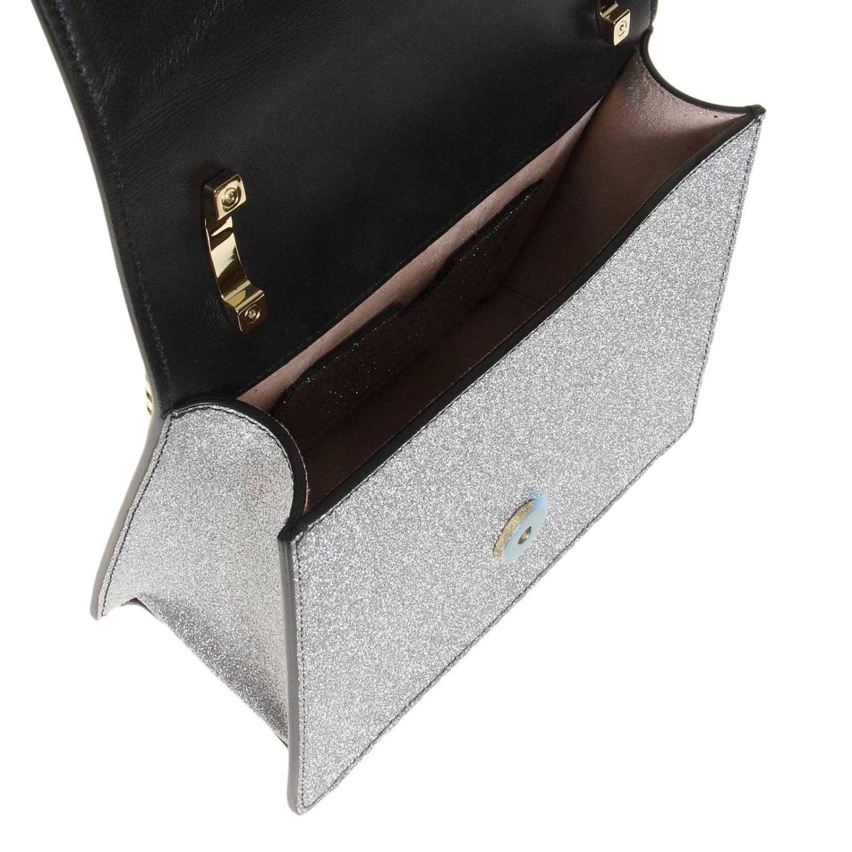 Mini sac à main Balmain: Sac bandoulière Balmain en cuir pailleté avec monogramme métalliques argent 4