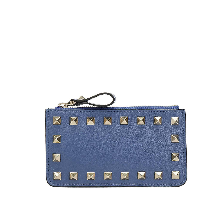 Porta carte di credito Rockstud Valentino Garavani in pelle con borchie metalliche mare 1