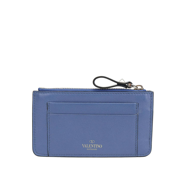 Porta carte di credito Rockstud Valentino Garavani in pelle con borchie metalliche mare 2