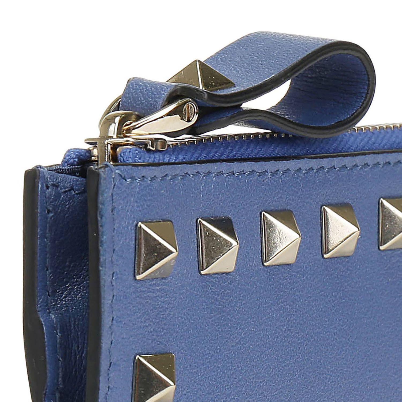 Porta carte di credito Rockstud Valentino Garavani in pelle con borchie metalliche mare 3