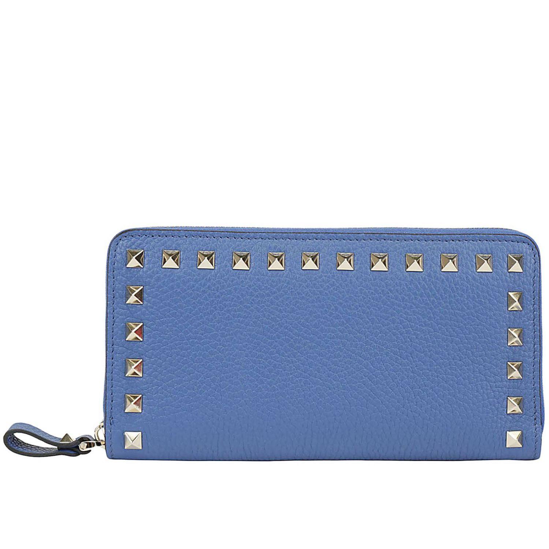 Portafoglio Rockstud Valentino Garavani continental zip around in pelle con borchie metalliche mare 1