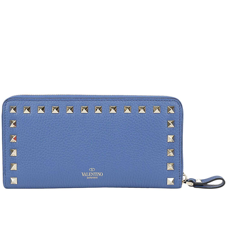 Portafoglio Rockstud Valentino Garavani continental zip around in pelle con borchie metalliche mare 3