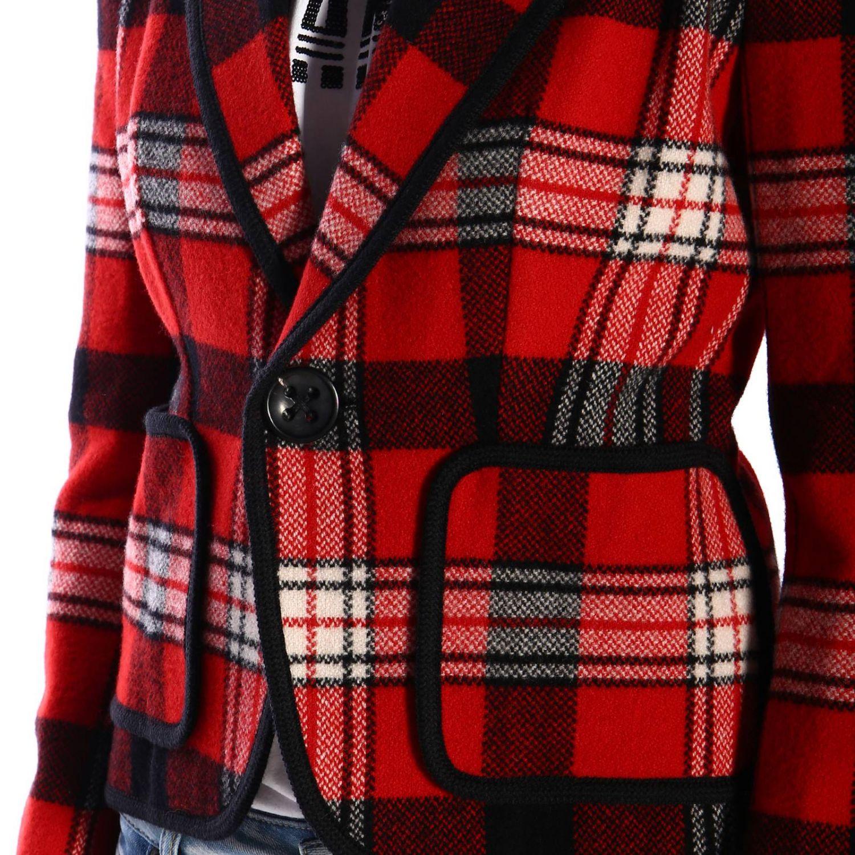Giacca Dsquared2 corta monopetto a un bottone in tessuto tartan rosso 4