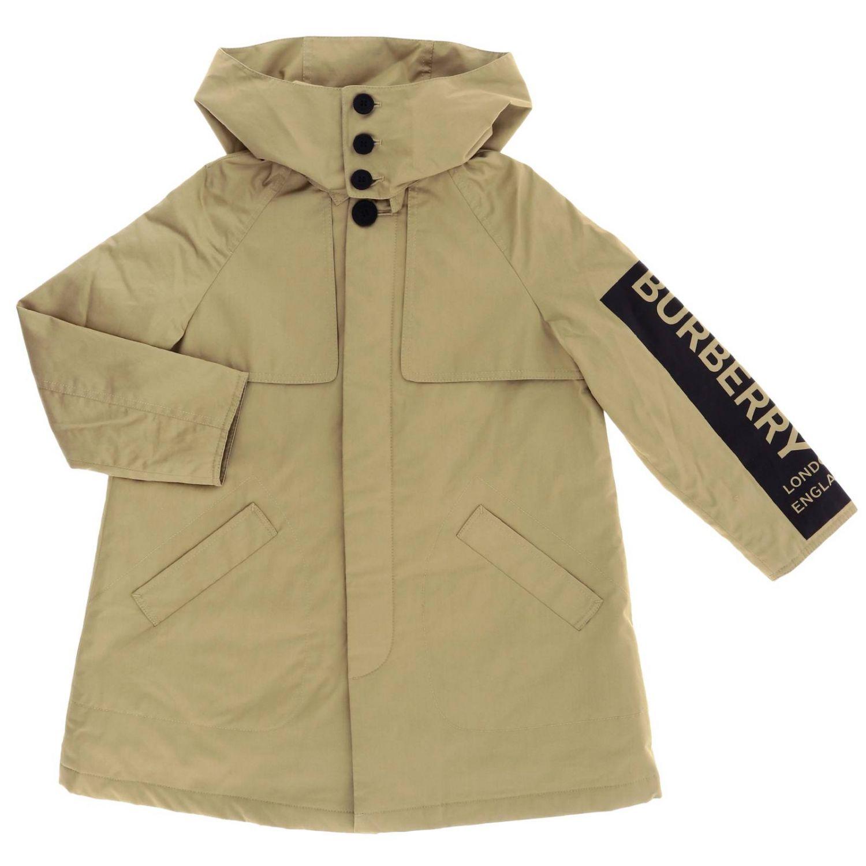 Cappotto Burberry in cotone con cappuccio e banda logata beige 1