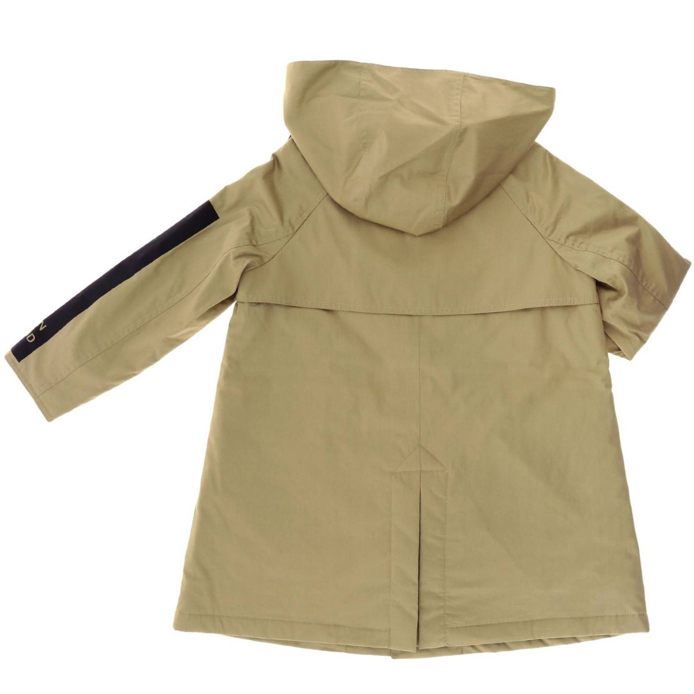 Cappotto Burberry in cotone con cappuccio e banda logata beige 2
