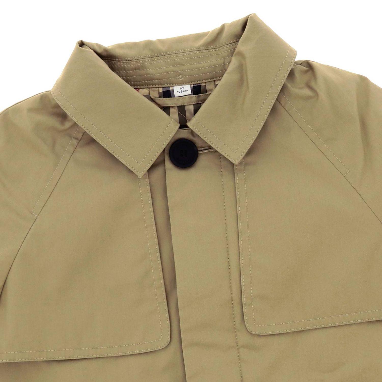 Cappotto Burberry in cotone con cappuccio e banda logata beige 3