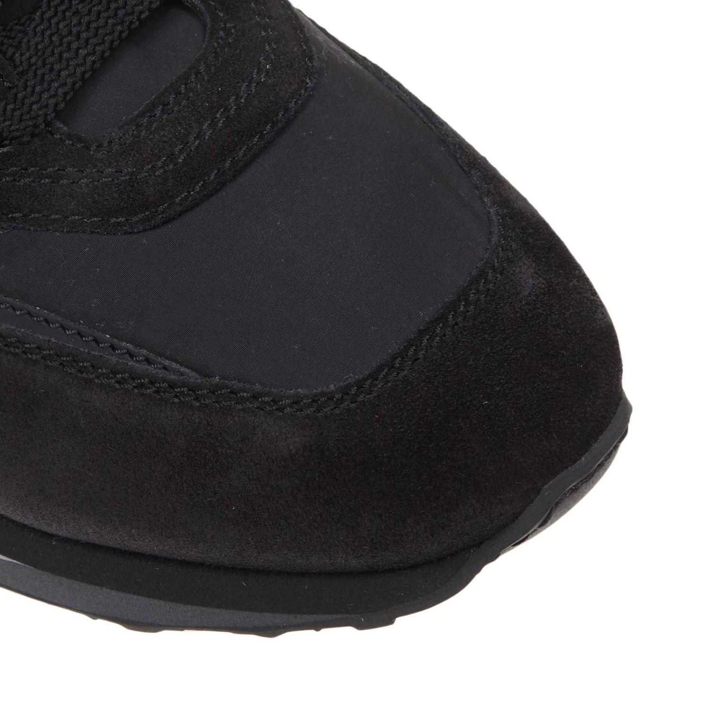 Baskets Santoni en cuir nylon et daim avec semelle en caoutchouc noir 3