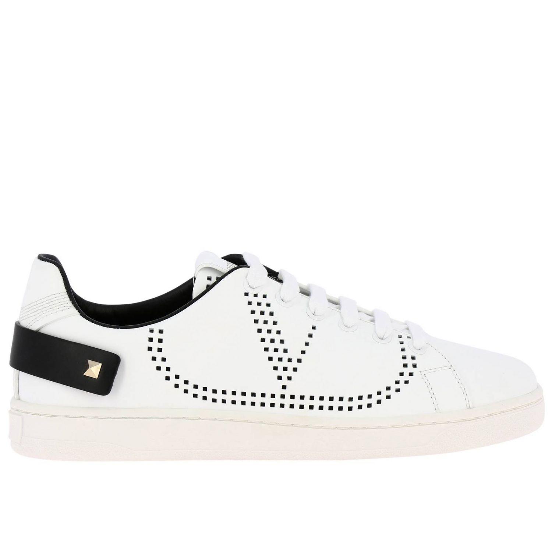 Zapatillas Valentino Garavani Backnet de cuero con logotipo micro perforado blanco 1