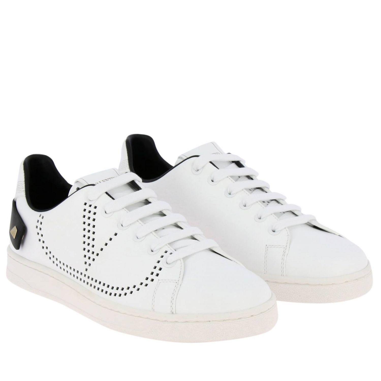 Zapatillas Valentino Garavani Backnet de cuero con logotipo micro perforado blanco 2