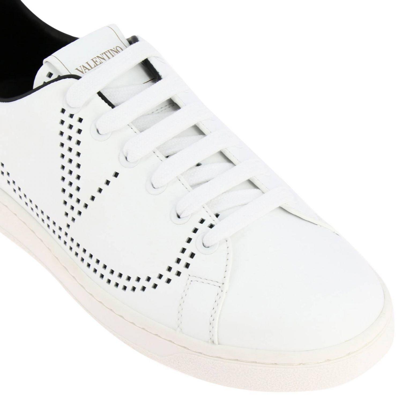 Zapatillas Valentino Garavani Backnet de cuero con logotipo micro perforado blanco 3