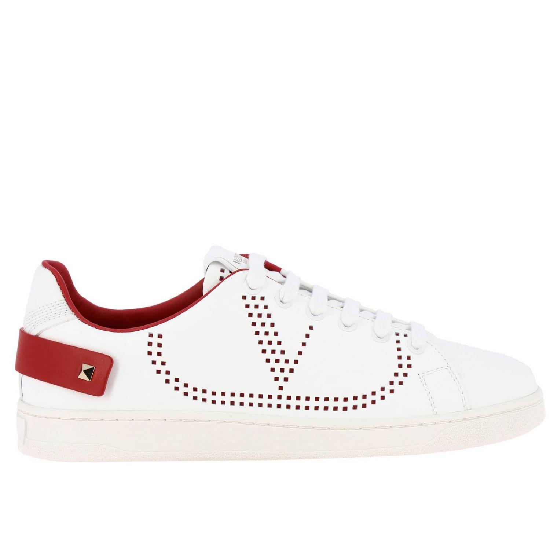 Sneakers Valentino Garavani: Valentino Garavani Backnet Sneakers aus Leder mit mikroperforiertem Logo weiss 1 1